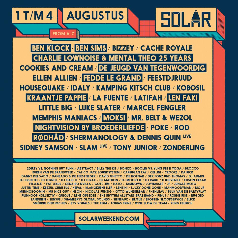 Llista d'artistes del Solar Weekend 2019 de Roerdmond