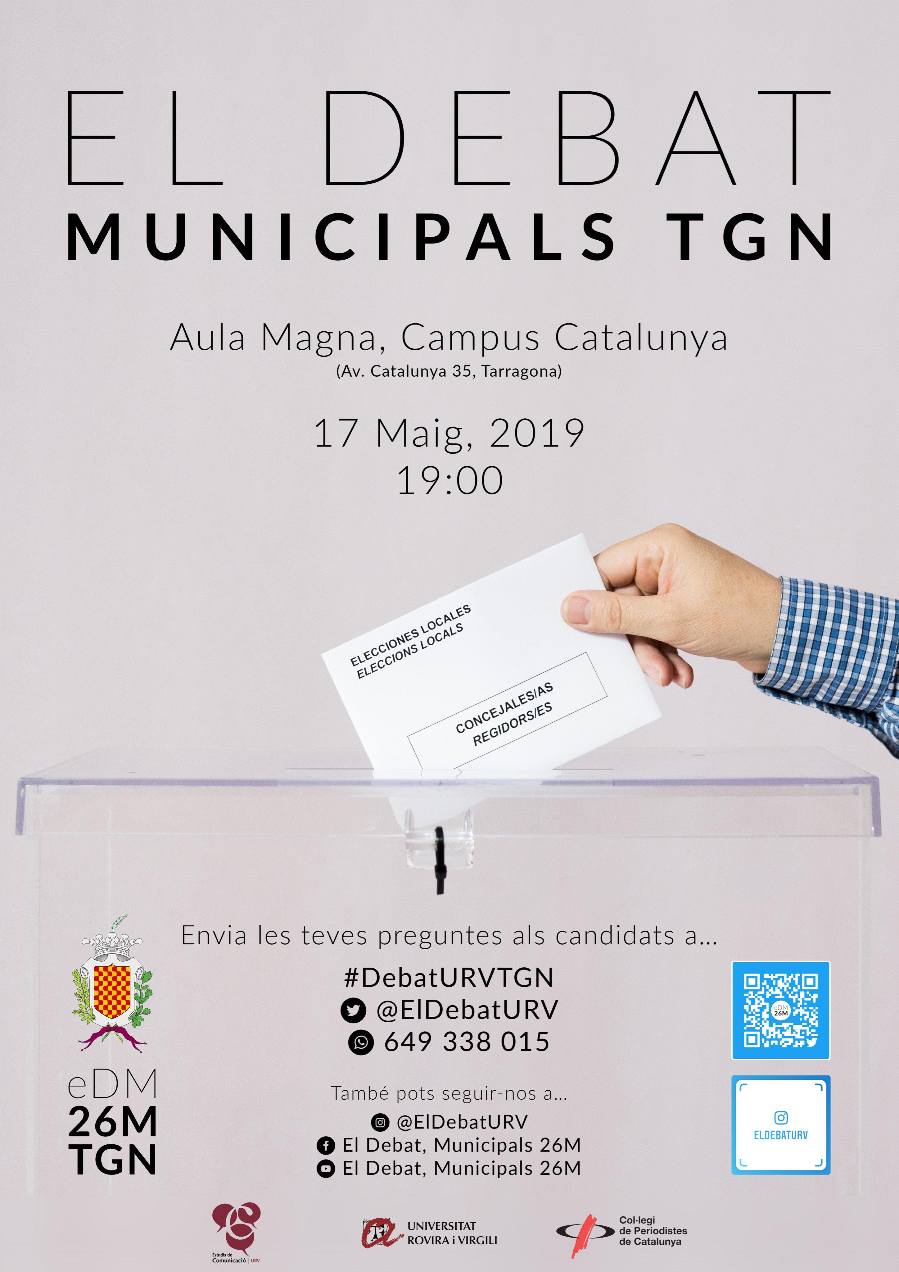 Cartell de El Debat URV Municipals Tarragona 2019