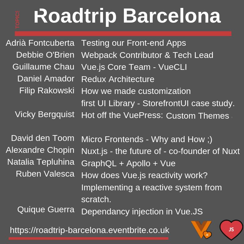 Llista conferenciants del VueJS and Frontend Roadtrip Barcelona 2019