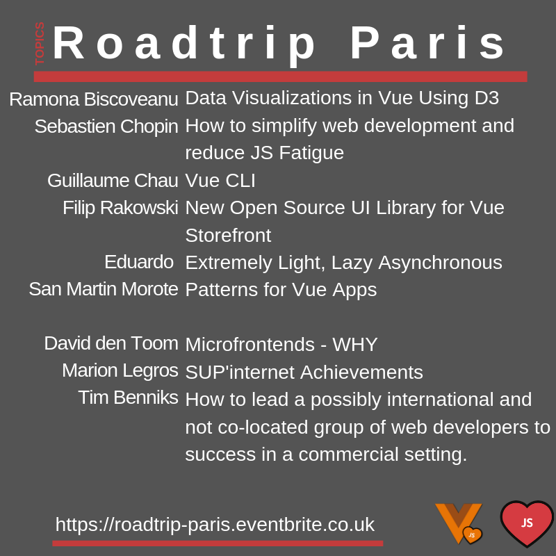 Llista conferenciants del VueJS and Frontend Roadtrip París 2019